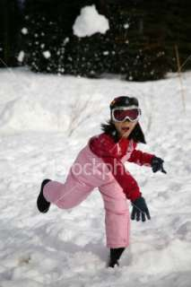 Young Girl Snowball Fight Royalty Free Stock Photo