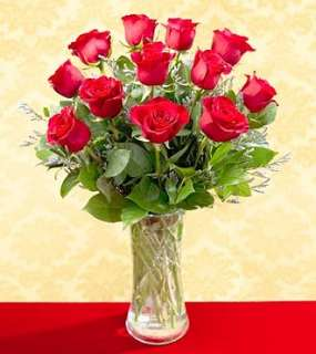 One Dozen Red Roses   Vased   Roses   Flowers Fast