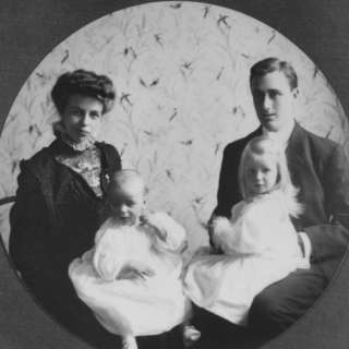 Franklin D. Roosevelt and Young Wife Eleanor with Anna and Baby James
