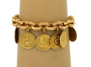 LOVELY VINTAGE 18K GOLD LADIES ZODIAC CHARM BRACELET