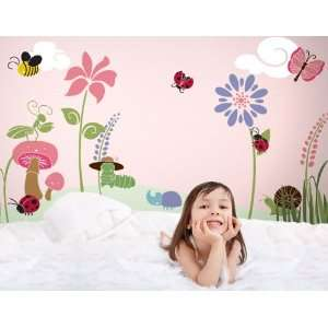 Wall Decor   Bugs & Blossoms Wall Mural Stencil Kit