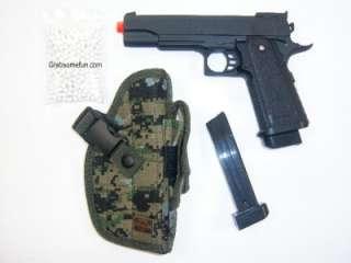 FULL METAL Airsoft Pistol Gun + Camo Holster + Extra Magazine / Clip