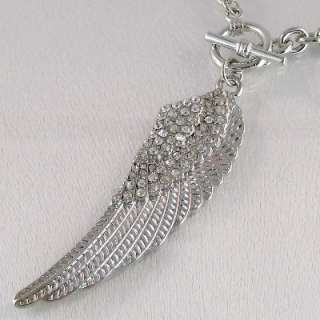Crystal Angel Wing Silver Tone Pendant/Toggle Necklace