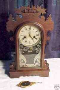 Antique mantle clock E N welch Dandelion model
