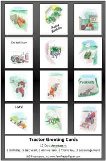 complete set of 12 assorted tractor greeting cards includes 3