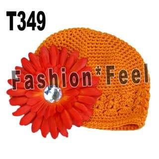 Baby boy girls crochet beanie headband hat caps + baby peony flower
