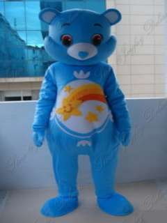 Blue care bear rainbow adult cartoon mascot costume