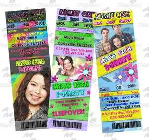 iCarly Birthday ticket invitations + Party Supplies