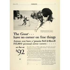 1931 Ad Bell & Howell Skiing Filmo Cameras Projectors St Moritz Monte