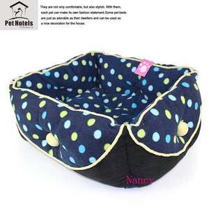 Warm and Soft Pet Dog Cat Bed House Medium velvet Blue