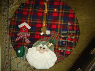 LARGE Christmas Tree Skirt Woodland Santa Stuffed Plaid Pattern