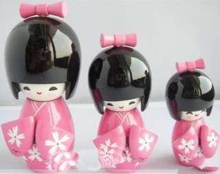 Pcs Oriental Japanese Kokeshi dolls Girls wooden pink