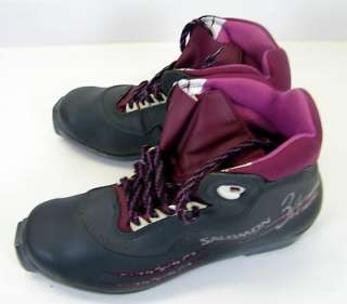 New Salomon Womens Cross Country Leather Ski Boots Black & Rose Size