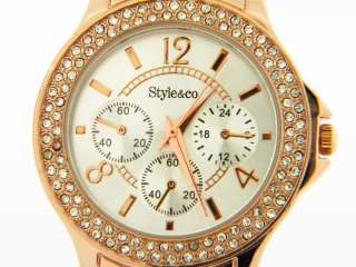Co. Ladies Rose Gold Stainless Steel Silver Dial Crystal Bezel Watch