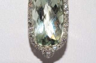 25CT GREEN AMETHYST & DIAMOND DANGLE PENDANT