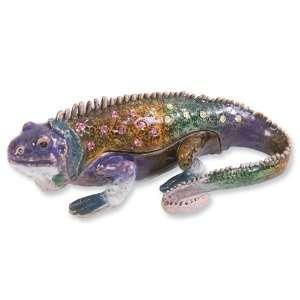 Enameled & Crystal Colorful Lizard Trinket Box Jewelry
