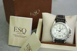 MENS ESQ SWISS LEATHER WRIST WATCH NIB!