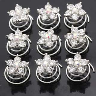 12pc Wedding Bridal Crystal Flower Hair Pins Twists 666
