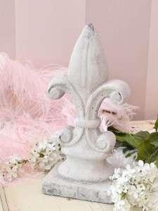 Shabby French Style Chic Large Fleur De Lis Ceramic Garden Ornament