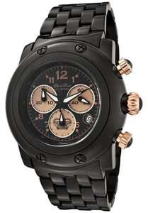 Glam Rock Watch GK1116 Womens Miami Chronograph Black Dial Black Ion