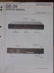 Kenwood GE 29 Graphic Equalizer Service/Parts Manual