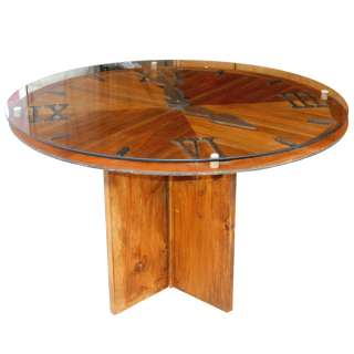 47 Vintage Clock Wood Dining Round Table