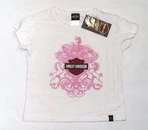 Harley Davidson Baby Infant Girl Logo T Shirt Pink & White