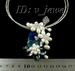 Jade&pearl&crystal flower necklace