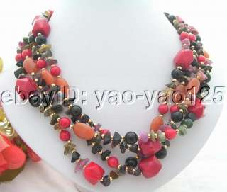 Charming 4Strds Natural Tourmaline&Red Coral&Onyx&Jade Necklace