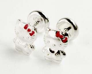 Pink Sterling Silver 925 Earrings Girl Baby Kids High Security