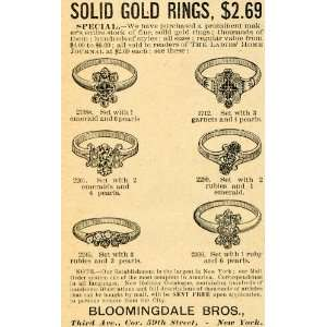 1891 Ad Bloomingdale Bro Gold Ring Models Precious Stones Jewelry Ruby