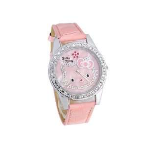 Pink Leather Hello Kitty Watch with Chystals on Bezel