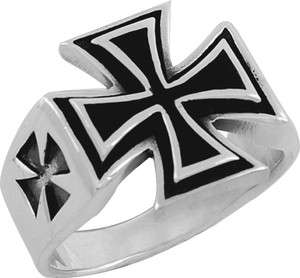 STERLING SILVER IRON CROSS MEN RING IN SIZES 10 15 (TR77)