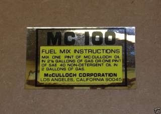 Vintage McCULLOCH Mc 100 Decal Sticker 63937 Go Kart