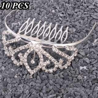 Leaves Rhinestone Crown Comb Hair Clip Tiara Wedding Hair Comb