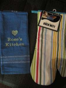 PERSONALIZED kitchen towel & oven mitt SET Embroidered
