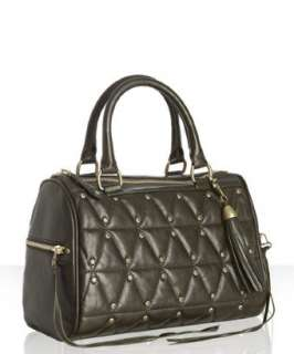 Rebecca Minkoff olive quilted leather Flame studded tote