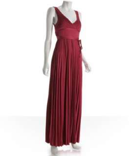 Sweetees red pleated silk jersey Carron maxi dress   up to