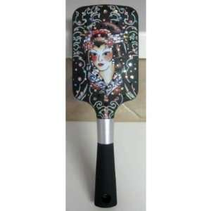 Ed Hardy Brush Large Paddle Brush Geisha Girl Tattoo Swarovski Crystal