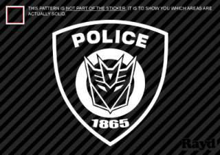 Police Decepticon Barricade Shield Sticker Decal Die Cut vinyl