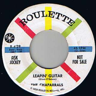 The Chaparrals Rockabilly Surf 45 RPM DJ Promo VG+ 8 Roulette RARE