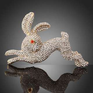 funny running Rabbit Brooch Pin gold GP Swarovski Crystals