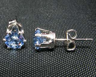 First Gift Round Cut Tanzanite 18K White GP Earrings