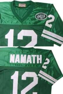 Namath #12 New York Jets Green Sewn Throwback Mens Size Jersey