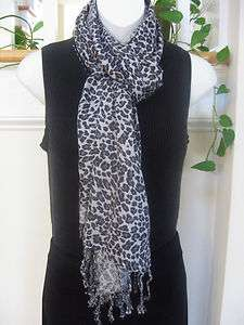 & Gray Cheetah Animal Print Indian Viscose Scarf Pashmina Shawl Wrap